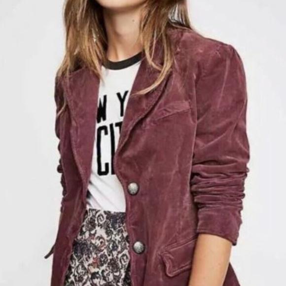 Free People Jackets & Blazers - FP Byron Corduroy Jacket Blazer S M Wine B10